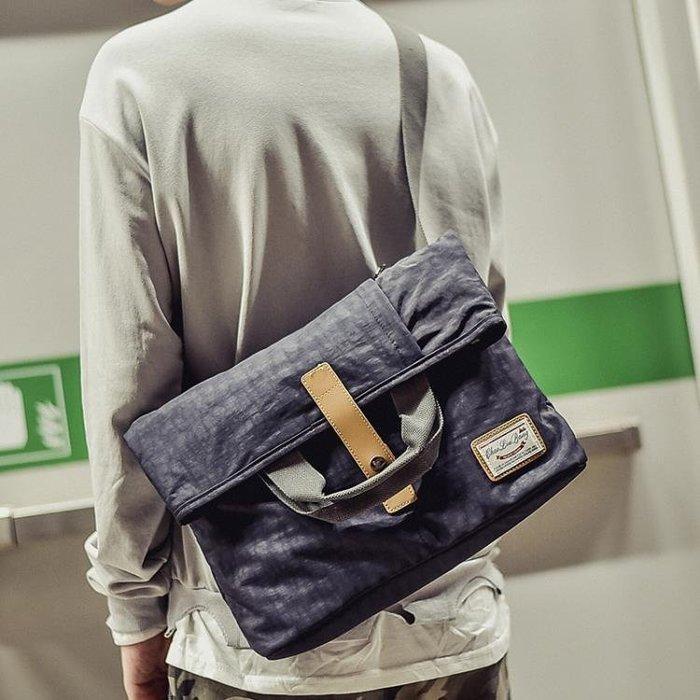 男士包包正韓單肩包斜挎包帆布郵差包死飛包多用商務手提包跨背包