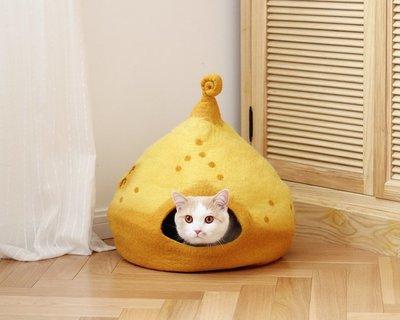 家裡的小怪獸   CATSCITY原創設計純手工羊毛氈貓窩圣誕樹保暖貓床魔法屋深度睡眠