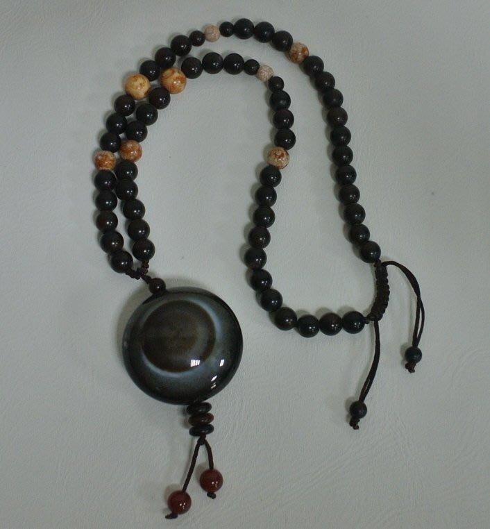 天眼珠天珠項鍊 大圓板珠 單眼 開運避邪項鍊 直徑4公分 古早收藏