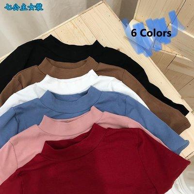 七公主女裝-2018韓版小立領修身顯瘦短袖T恤性感短款漏肚臍半袖上衣顯白tee女