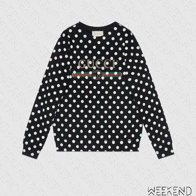 【WEEKEND】 GUCCI Logo Polka Dot 波爾卡點 長袖 上衣 衛衣 大學T 617964