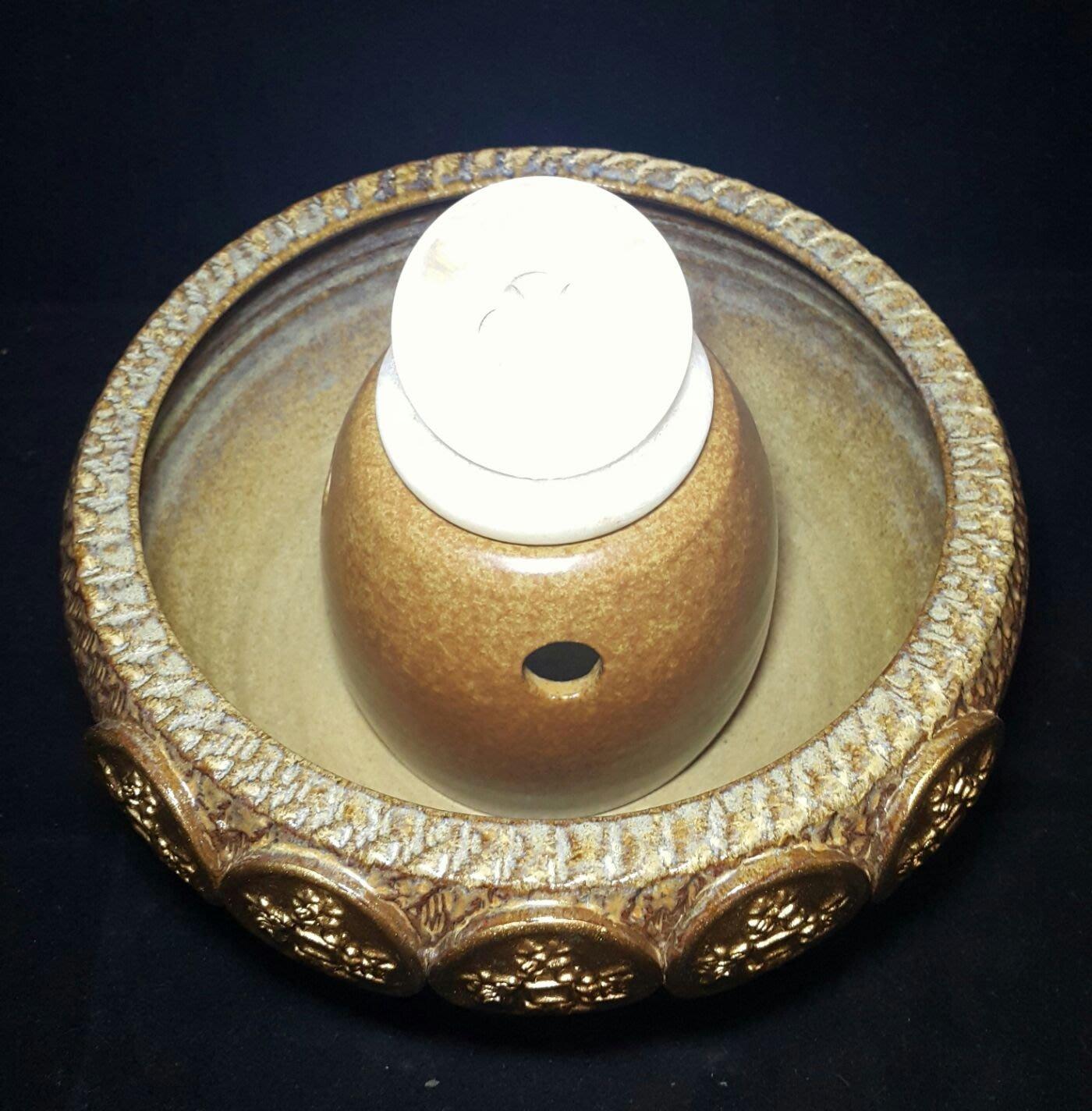 【星辰陶藝】(LED燈馬達,元寶球) 跳刀五錢聚寶盆+6公分滾球流水組,黃金錢幣,財源滾滾,風水滾球