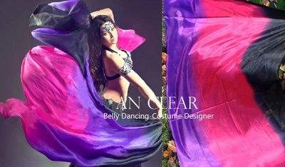 *安晴 AnClear 真絲(蠶絲)手紗巾 肚皮舞 成果展三色漸層 紫 桃紅 黑