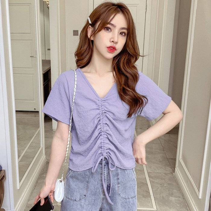 NiCELIFE 韓系抽繩短版上【C1817】方領 開扣 短袖 短版 襯衫 上衣 女  顯瘦