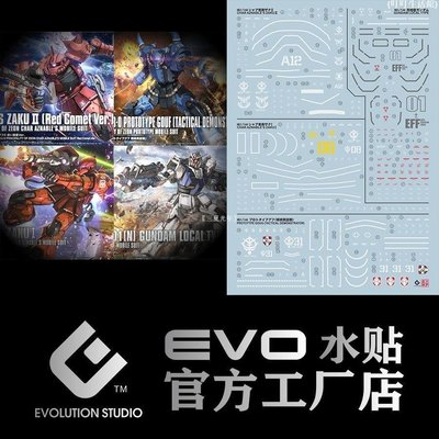 「吉吉小鎮」 包郵 EVO HG GTO 高達起源 扎古 大魔 THE ORIGIN 模型 熒光 水貼Q8A56