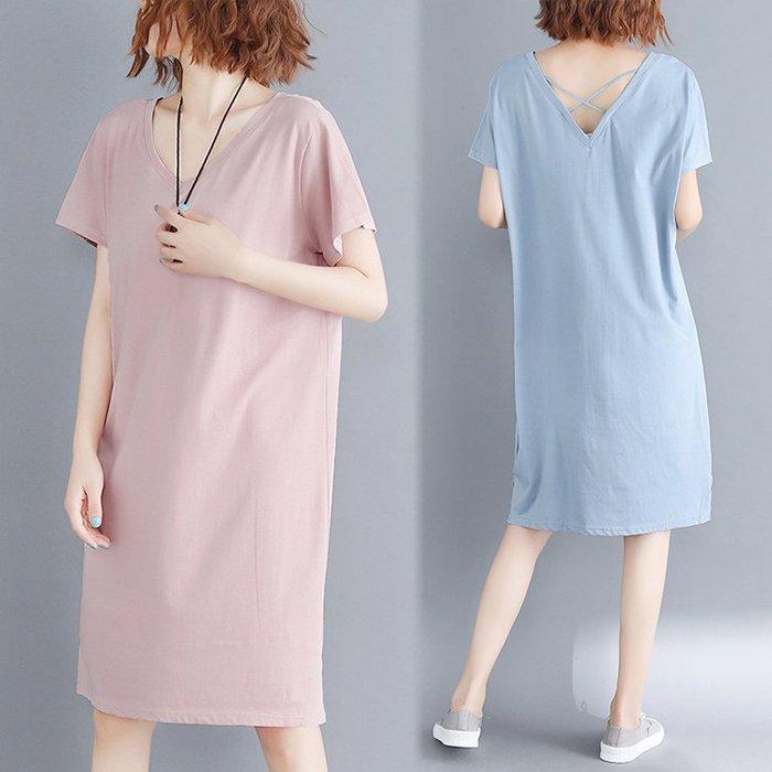 六色供選-寬鬆顯瘦後背交叉設計V領短袖連身裙洋裝 中大尺碼 L ~ 5XL