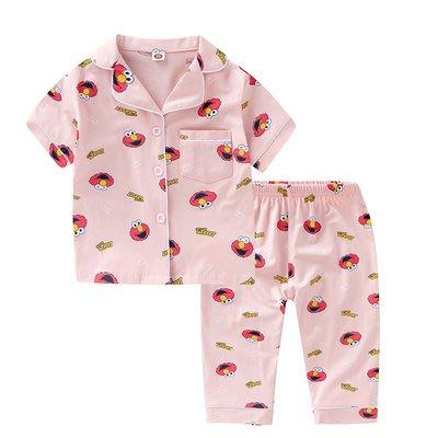 •*~ 辣媽咪衣飾小舖 ~*•❤童裝系列❤K950201韓版兒童夏款超可愛萌款『芝麻街』圖案家居服上衣+長褲二件套