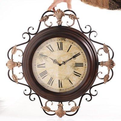 千禧禧居~復古鐘表掛鐘客廳超大時尚創意時鐘歐式鐵藝壁鐘大氣美式家用壁掛