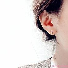 ALOVE STORE 通體s925純銀鋯石微鑲一字耳釘防過敏不掉色簡約百搭新款女配飾品