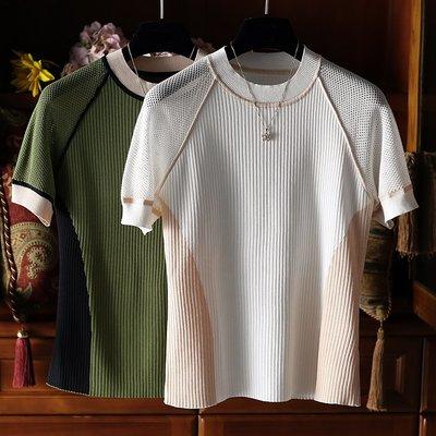 《巴黎拜金女》時髦運動風側拼色網眼鏤空袖針織衫