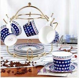 咖啡杯 古典藍仿手繪波蘭陶 6杯6盤組-附杯架 花茶杯 骨瓷杯 鄉村小碎花 私人收藏 咖啡廳下午茶(永美)