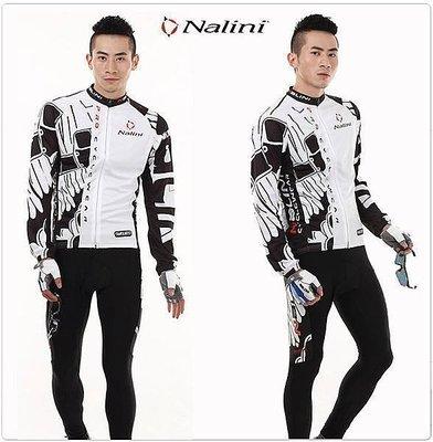 【綠色運動】白NALINI 意大利 自行車服 車衣車褲長套裝 腳踏車服/長袖單車車衣 騎行服
