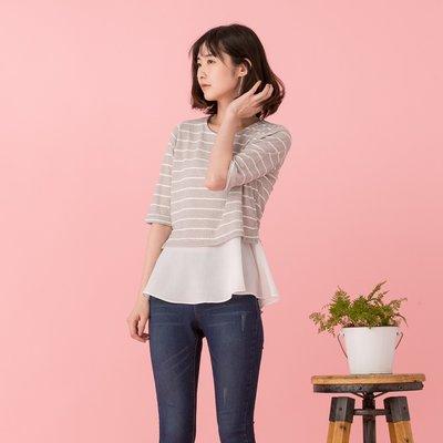 正韓【Meet Shop】Apr-02 假兩件式雪紡下擺線條上衣 氣質灰 現貨
