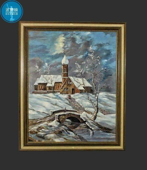 【波賽頓-歐洲古董拍賣】歐洲/西洋古董 德國古董 夜晚積雪教堂前的步行者 大型手繪油畫 (尺寸:116×96公分)(年份:1979年)(落款: Hiemer )