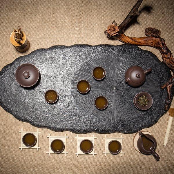 5Cgo【茗道】含稅會員有優惠  525164152329 石頭烏金石茶盤功夫茶具天然黑金石大號石材茶台茶壺茶海75*3