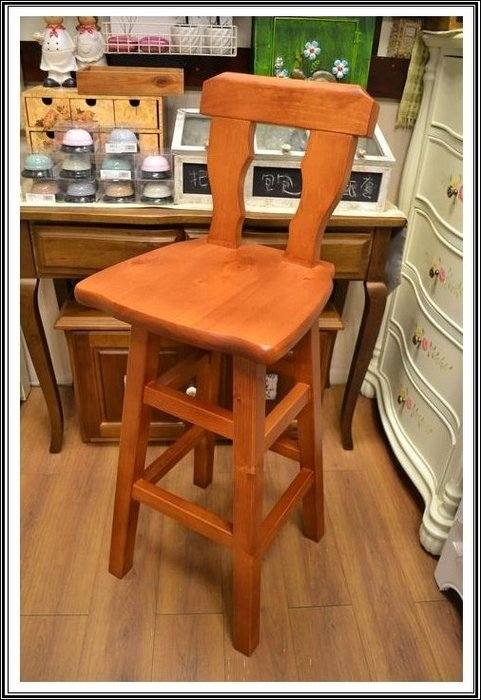 【【歐舍家飾】】鄉村風 實木靠背吧台椅 有背高腳椅吧檯椅中島椅工作椅高椅咖啡椅系統櫃酒吧椅洽談椅耐用餐椅