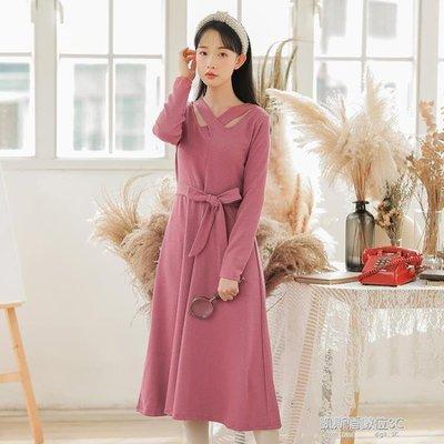 洋裝女中長款冬季新款韓版修身綁帶收腰針織內搭打底衫