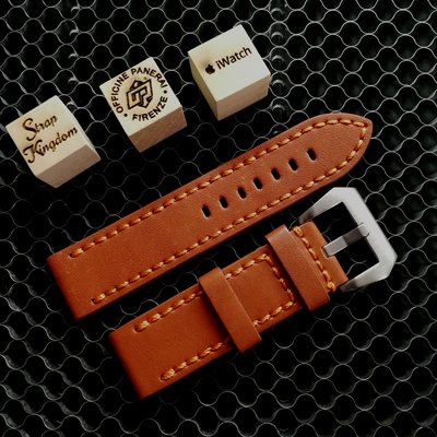 Orange Buffalo Leather Strap 手造橙色厚牛皮(合PANERAI,APPLE WATCH用) 24MM 代用錶帶