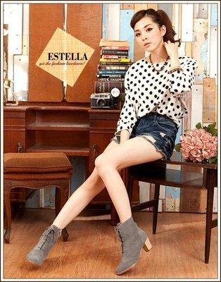 ESTELLA-全真皮雕花牛津粗跟短靴-灰【EH500084AY】