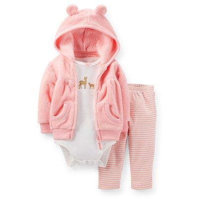 【安琪拉 美國童裝】Carter's 粉色梅花鹿仿毛套裝 –連帽外套+包屁衣+長褲