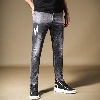 寬管褲 3D褲 窄管褲 休閒褲 牛仔褲男薄款修身 小腳 男士閃電印花漸變破洞做舊男褲子