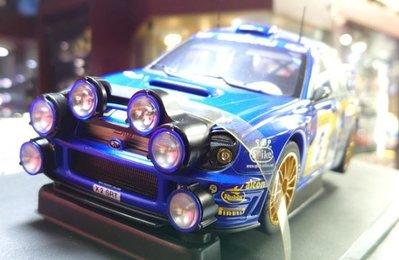autoart 1/18。Subaru Impreza Wrc 2001 #5 蒙地卡羅夜戰版。原盒