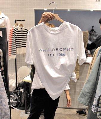 ❤Princess x Shop❤白色短袖燙金字母短袖T恤DL9042929正韓國連線吊帶褲蕾絲一字領