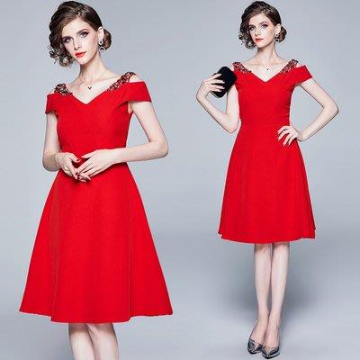 9136實拍-現貨歐美高端精品女裝黑色V領小禮服裙復古露肩連衣裙A