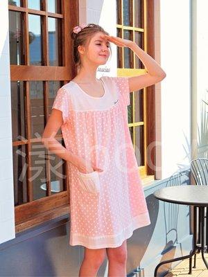 🌷蕾妮塔塔🌷   全系列精品/ ( 75018 )/ ( 2色 )  點點精梳棉柔短袖連身洋裝睡衣/ 台灣製( F ~ 2L ) 桃園市