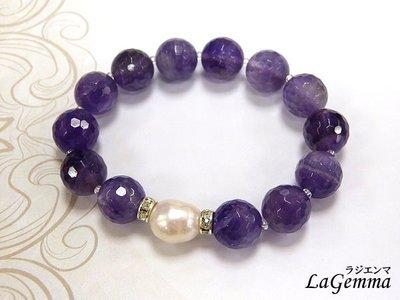 【寶峻水晶】天然紫水晶/紫晶角珠配淡水珍珠手鍊/手珠SPS-443愛的守護石~智慧平和