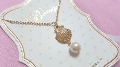 韓系美人魚公主金色貝殼珍珠項鍊特價 台中市