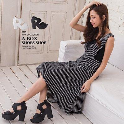 格子舖*【KD2778】MIT台灣製 韓國街頭穿搭極推薦款 後拉鍊粗跟寬帶繞踝涼鞋 2色