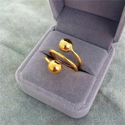MAMAmi古店 日韓鍍24k黃金色光面磨砂轉運珠戒指男女 久不掉色仿越南沙金指環