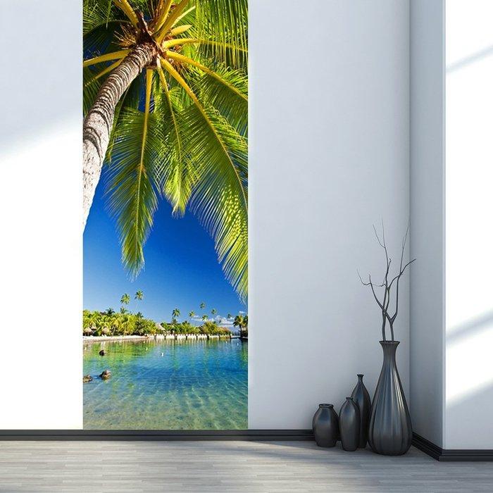暖暖本舖 青春椰子樹 工業風格裝潢貼 歐式風格 大門造景貼 裝潢貼紙 玄關貼 風景貼 階梯貼 可訂製尺寸 壁紙 臥式門貼