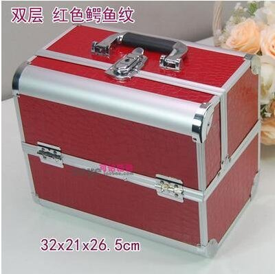 【優上】手提大號化妝箱專業化妝師紋繡工具箱彩妝箱大號紅色鱷魚紋