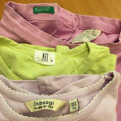 班尼頓Benetton H&M Net 女童純棉服飾 120cm 三件合售 運費無法合併