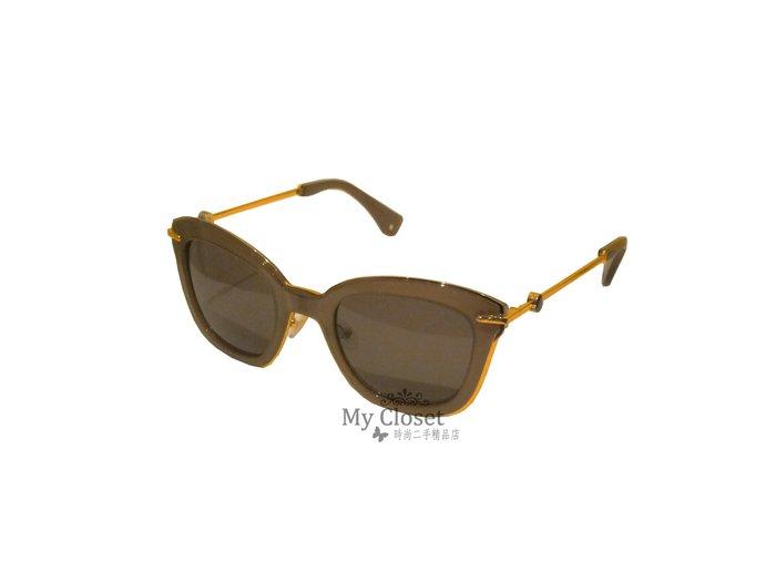 My Closet 二手名牌 Moncler 咖啡色鑲金邊鏡框造型太陽眼鏡