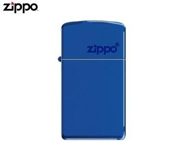 【寧寧精品*台中ZIPPO打火機30年專賣店】Zippo logo 窄版系列 經典寶藍色 美國直送終身保固 4296-3