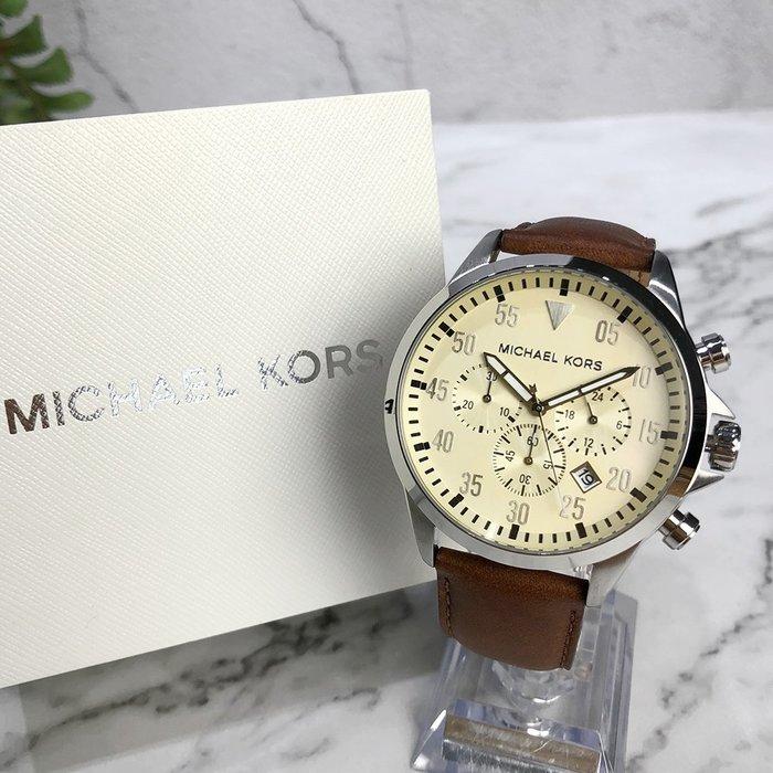 美國百分百【Michael Kors】手錶 MK8441 男錶 MK 不鏽鋼 三眼 禮盒專櫃配件 皮革 棕色 J034