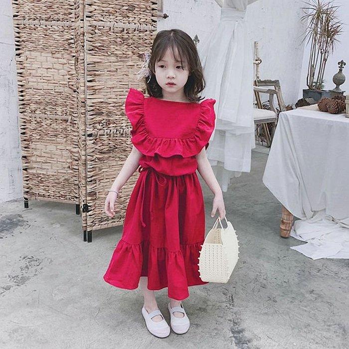 •*~ 辣媽咪衣飾小舖 ~*•❤童裝系列❤K240123韓版兒童夏款甜美荷葉邊大裙擺個性紅色洋裝