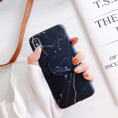iphone6/6s/6p/7/7p/8/8p/10/X 大理石雲石_黑色裂紋多功能氣囊伸缩支架手機殼(免郵)