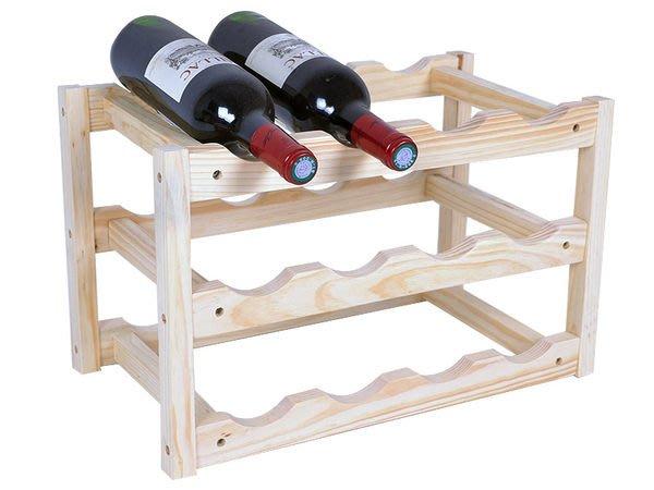 【御品生活】酒窖原木紅酒架(一組可放12瓶酒)※原木製.承重穩定性※ 酒瓶架/收納架