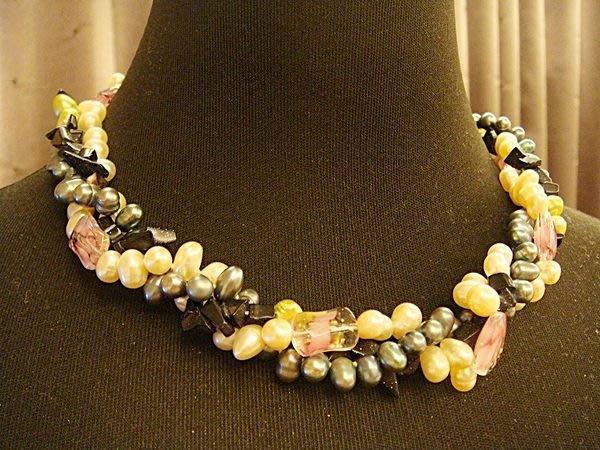全新,天然閃亮珍珠琉璃造型項鍊,低價起標無底價!本商品免運費!