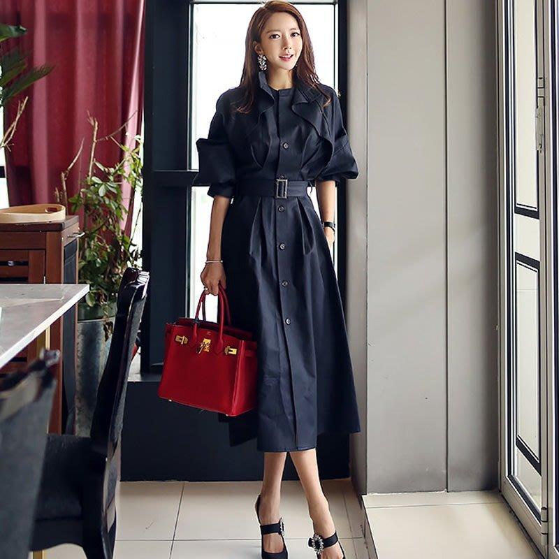 連身裙 #20119 🌸Mini Moda🌸 蝙蝠袖收腰襯衫裙