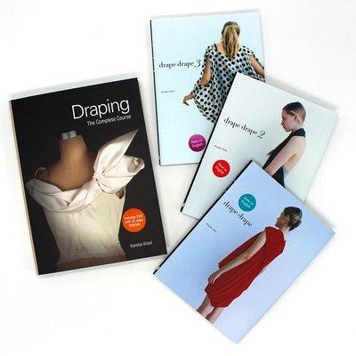 英文原版 褶裥服裝設計系列 四本套裝:Draping+Drape Drape 123 服裝剪裁設計 當代藝術服裝設計作品
