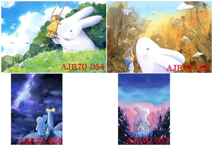 afu繪畫70片迷你大白兔 AJR70-054風和日麗/70-055秋思之語/70-056守護之星/70-056永恆思念