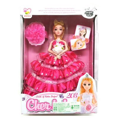 時尚婚紗芭比娃娃禮盒組 ST安全玩具-粉紅色(盒損出清 )