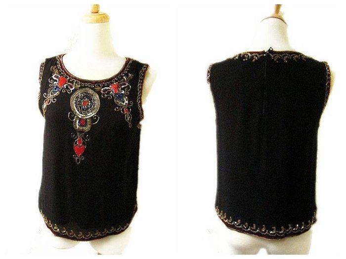*Beauty*alice+olivia黑色古典珠珠飾絲質背心