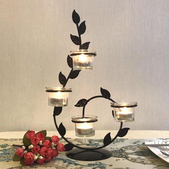 歐式鐵藝蠟燭台情人節浪漫創意家居燭光晚餐婚慶燭台