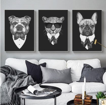 『格倫雅』大哥有話說 工業風客廳裝飾畫三聯畫酒吧KTV掛畫動物酷壁畫^3708